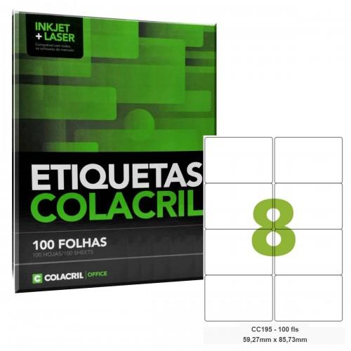 Etiqueta Adesiva Carta CC195 59,27 x 85,73 mm 100 Folhas Colacril - ColaCril - CC195