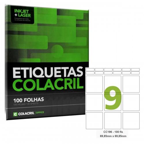Etiqueta Adesiva Carta CC196 69,85 x 69,85 mm 100 Folhas Colacril - ColaCril - CC196
