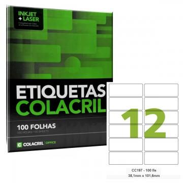 Etiqueta Adesiva Carta CC197 38,1 x 101,6 mm 100 Folhas Colacril