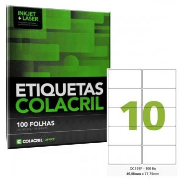 Etiqueta Adesiva Carta CC199F 46,56 x 77,79 mm 100 Folhas Colacril