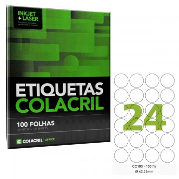 Etiqueta Redonda Adesiva Carta Redonda cc193 42,33 mm 100 Folhas  Colacril