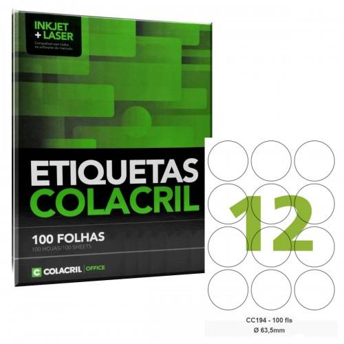 Etiqueta redonda Adesiva Carta Redonda CC194 63,5 mm 100 Folhas  Colacril - ColaCril - CC194