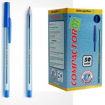Caneta Esferografica 0.7 Azul Compactor 50 Unidades