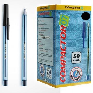 Caneta Esferografica 0.7 Preta Compactor 50 Unidades