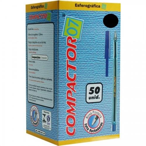 Caneta Esferografica 0.7 Preta Compactor 50 Unidades - Compactor - Compactor 0.7
