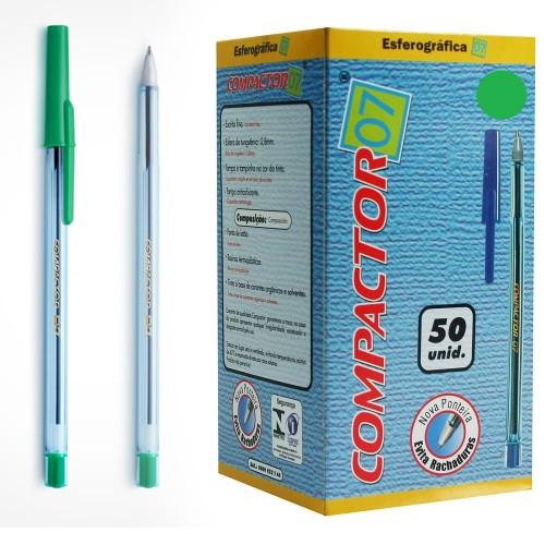 Caneta Esferografica 0.7 Verde Compactor 50 Unidades - Compactor - Compactor 0.7
