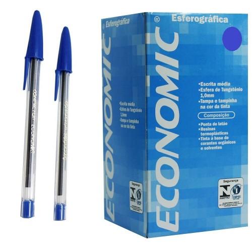Caneta Esferografica Economic Azul Compactor 50 Unidades - Compactor - Economic