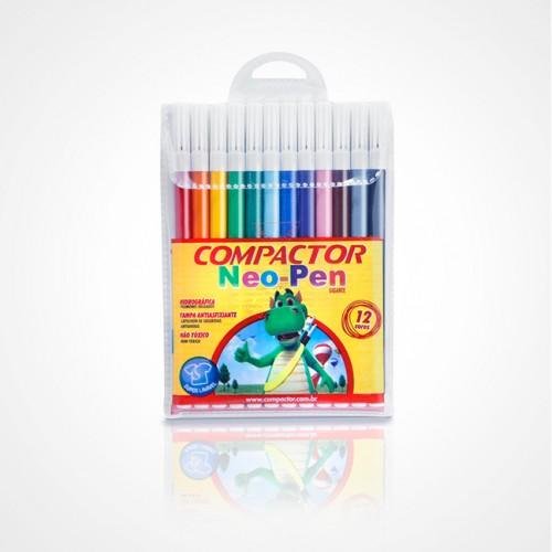 Caneta Hidrocor Neo Pen Gigante 12 Cores Compactor Pct com 5 Estojos - Compactor - Neo Pen Gigante