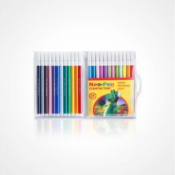 Caneta Hidrocor Neo Pen Gigante 24 Cores Compactor Pct com 5 estojos