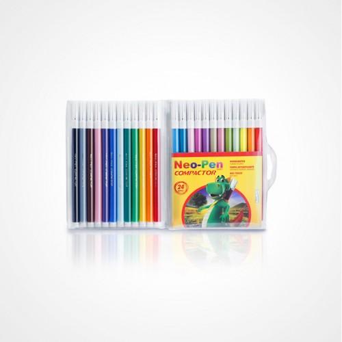 Caneta Hidrocor Neo Pen Gigante 24 Cores Compactor Pct com 5 estojos - Compactor - Neo Pen Gigante 24 Cores