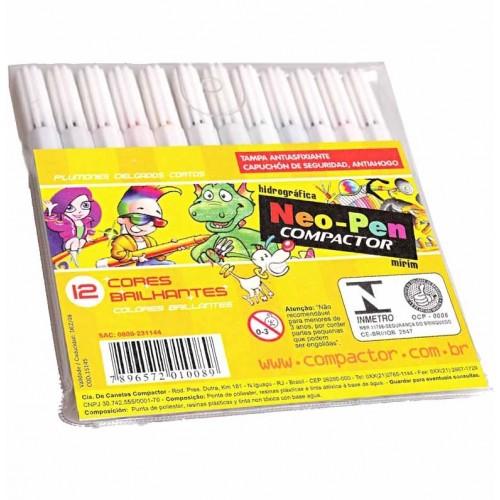 Caneta Hidrocor Neo Pen Mirim 12 Cores Compactor Pct com 5 estojos - Compactor - Neo Pen Mirim 12 cores