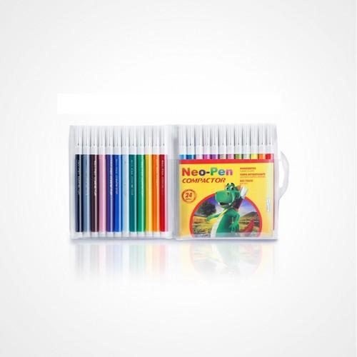 Caneta Hidrocor Neo Pen Mirim 24 Cores Compactor Pct com 5 Estojos - Compactor - Neo Pen Mirim 24 cores