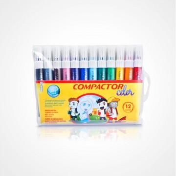 Pincel Compactor Color 12 Cores Compactor 5 Unidades