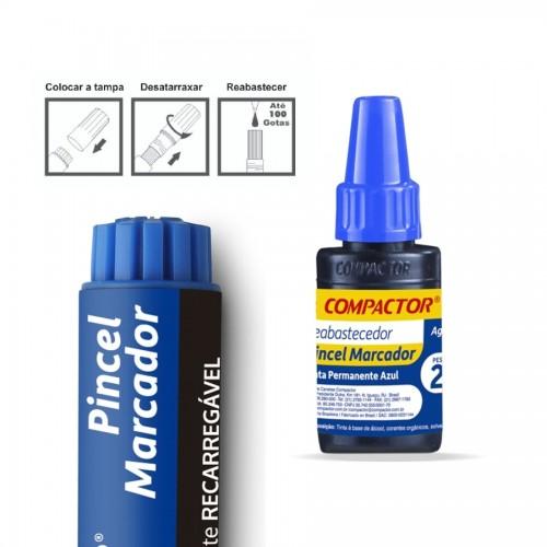 Pincel Marcador Permanente Azul Compactor | 12 Unidades - Compactor - PM12