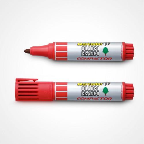 Pincel Marcador Quadro Branco Vermelho Compactor | 12 Unidades - Compactor - QB12