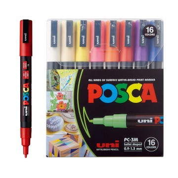 Caneta Posca PC-3M 16 Cores Uni Ball