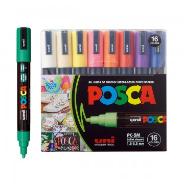 Caneta Posca PC-5M 16 Cores Uni Ball