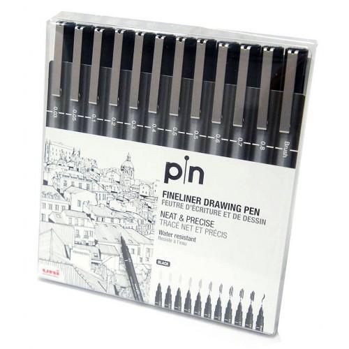 Caneta Uni Pin Nankin 12 Unidades Preta Uniball