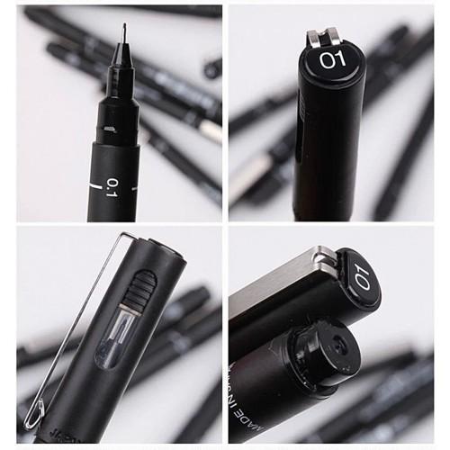 Caneta Uni Pin Nankin Preta Ultra Fina 6 Pontas Uniball