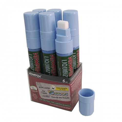 Giz Liquido Marcador Vidro, Plástico, Quadro e Metal NewPen 6 Unidades