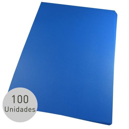 Capa Para Encadernação A4 PP Azul Couro Frente Com 100 Unidades - Mares - A4 PP Azul Couro Frente