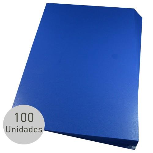 Capa Para Encadernação A4 PP Azul Couro Fundo Com 100 unidades - Mares - A4 PP Azul Couro Fundo