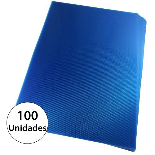 Capa Para Encadernação A4 PP Azul Line Frente Com 100 Unidades - Mares - A4 PP Azul Line Frente