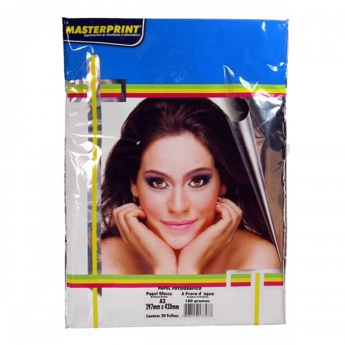 Papel Fotográfico Glossy  Masterprint A3 180 Gramas 20 Folhas - Masterprint - 7898119177477