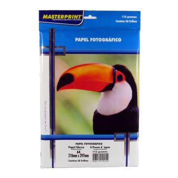 Papel Fotográfico Glossy Masterprint A4 115 Gramas 50 Folhas