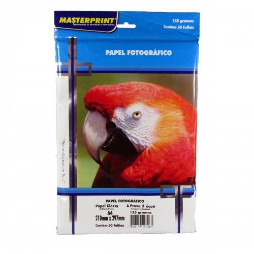 Papel Fotográfico Glossy Masterprint A4 135 Gramas 50 Folhas - Masterprint - 7898119190261