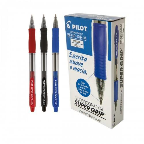 Caneta Super Grip Bp 10r M 1.0 Azul Pilot 12 Unidades - PILOT - Super Grip Bp 10r M 1.0