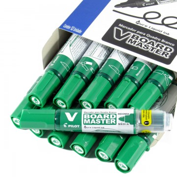 Pincel Marcador Para Quadro Branco Wbma-Vbm-M Board Master Verde Pilot 12 Unidades
