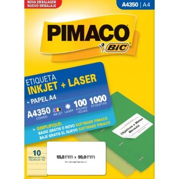 Etiqueta A4350 55,8x99,0mm ink-jet/laser Pimaco 100 folhas