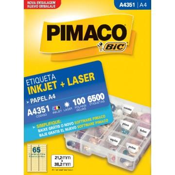 Etiqueta A4351 21,2x38,2mm Ink-Jet/Laser Pimaco 10...