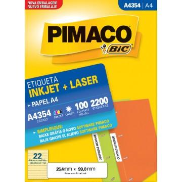 Etiqueta A4354 25,4x99,0mm ink-jet/laser Pimaco 100 Folhas