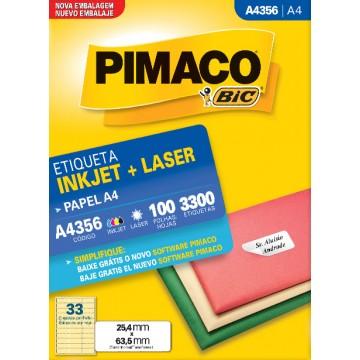 Etiqueta A4356 25,4x63,5mm ink-jet/laser Pimaco 10...