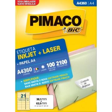 Etiqueta A4360 38,1x63,5mm ink-jet/laser Pimaco 10...