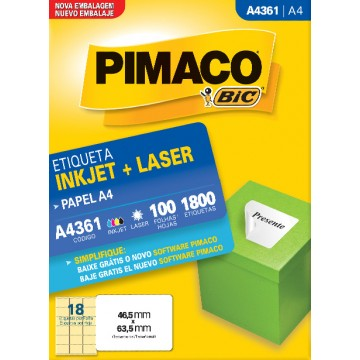 Etiqueta A4361 46,5x63,5mm Ink-Jet/Laser Pimaco 10...