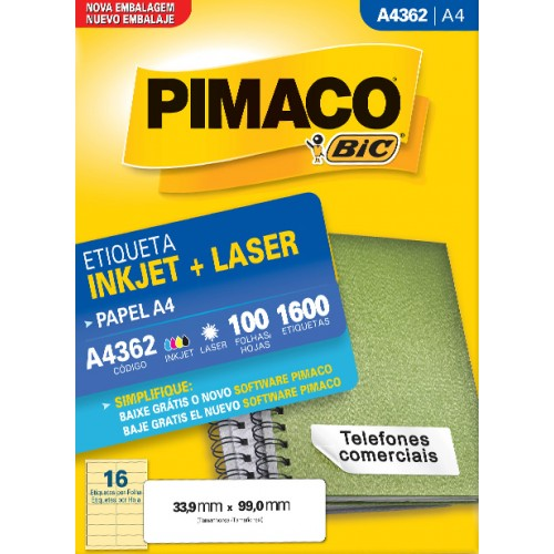 Etiqueta A4362 33,9x99,0mm ink-jet/laser Pimaco 100 folhas - Pimaco - A4362