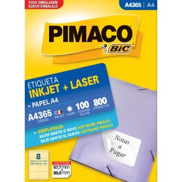 Etiqueta A4365 67,7x99,0mm ink-jet/laser Pimaco 100 folhas