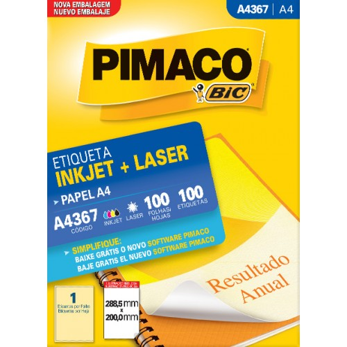Etiqueta  A4367 288,5x200,0MM ink-jet/laser Pimaco 100 folhas - Pimaco - A4367