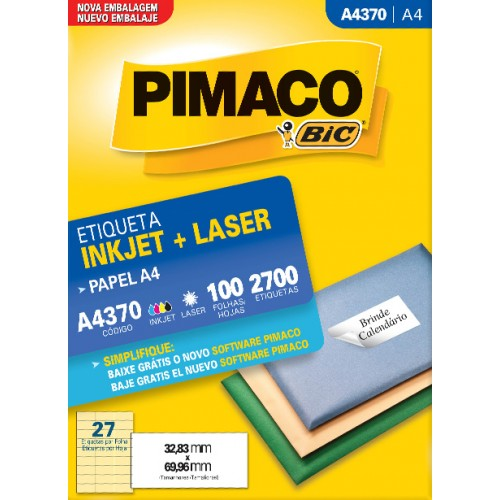 Etiqueta A4370 32,83x69,96mm ink-jet/laser Pimaco 100 folhas - Pimaco - A4370