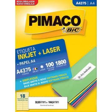 Etiqueta A4375 32,83x104,5mm ink-jet/laser Pimaco 100 folhas