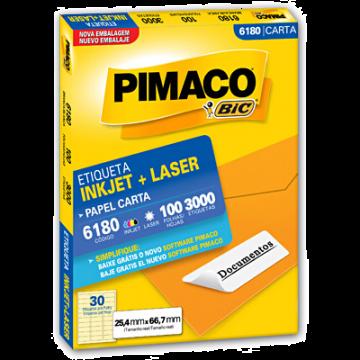 Etiqueta Carta 6180 25,4x66,7mm ink-Jet/Laser Pimaco 100 Folhas