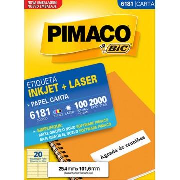 Etiqueta Carta 6181 25,4x101,6 ink-jet/laser Pimaco 100 folhas