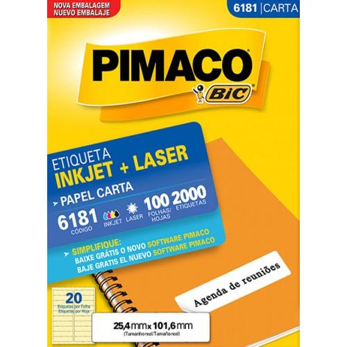 Etiqueta Carta 6181 25,4x101,6 ink-jet/laser Pimaco 100 folhas - Pimaco - Carta 6181