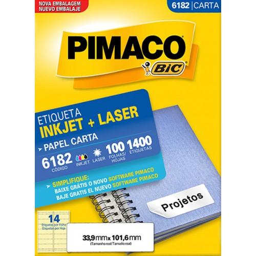 Etiqueta Carta 6182 33,9x101,6mm ink-jet/laser Pimaco 100 folhas - Pimaco - Carta 6182