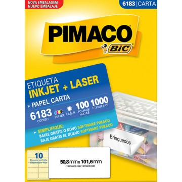 Etiqueta Carta 6183 50,8x101,6mm ink-jet/laser Pimaco 100 folhas