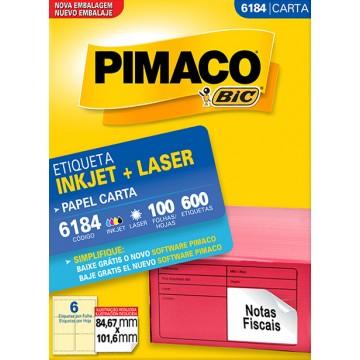 Etiqueta Carta 6184 84,67x101,6mm ink-jet/laser Pimaco 100 folhas