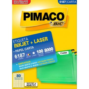 Etiqueta Carta  6187 12,7x44,45mm ink-jet/laser Pimaco 100 folhas